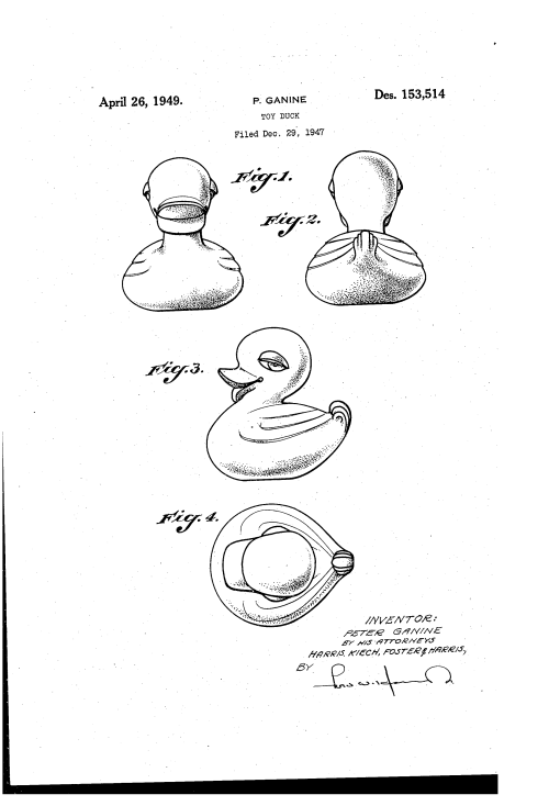 Rubber Ducky Patent USD153514-0 via Google Patents